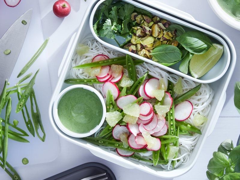 Vegan Vermicelli Rice Noodles Salad with sugarsnap peas and tofu